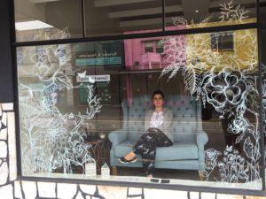 """Natural essence"", white sharpie on shop window"