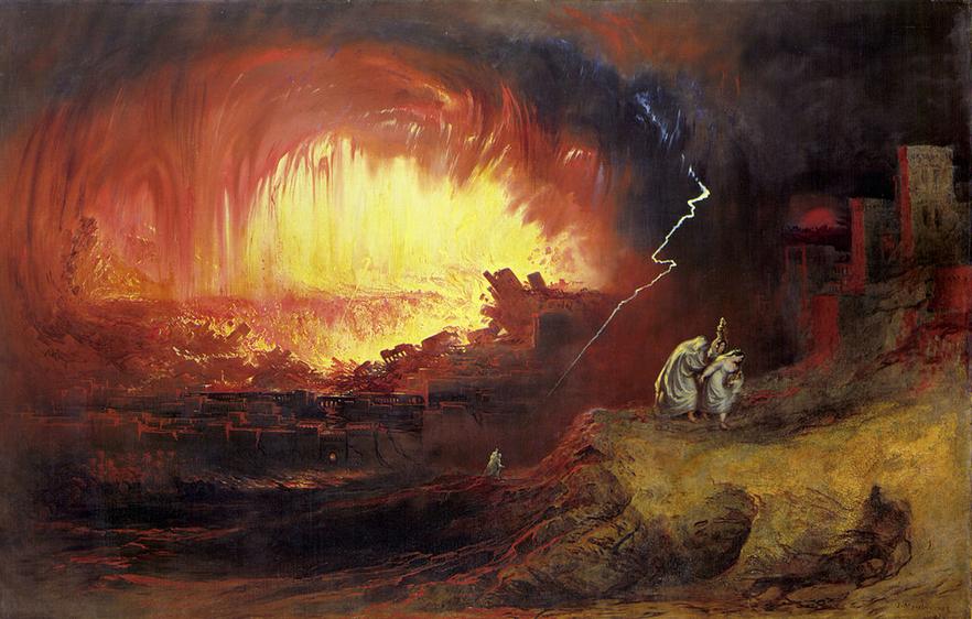 La distruzione di Sodoma e Gomorra, dipinto di John Martin (1852)